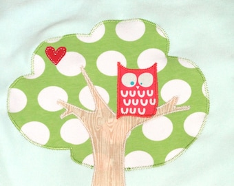 Owl baby gift etsy personalized mint baby blanket with tree and owlbaby blanketbaby giftbaby negle Choice Image