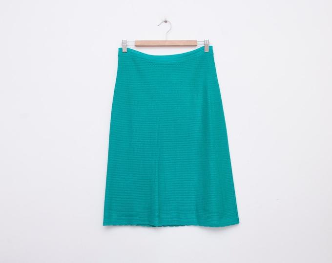Skirt midi knit aqua green NOS Vintage size S/M