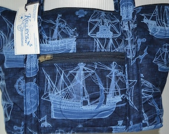 Quilted Fabric Handbag Navy Blue with Boats and Nautical Theme