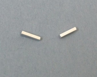 Mini silver square bar studs Micro sterling rod post earrings