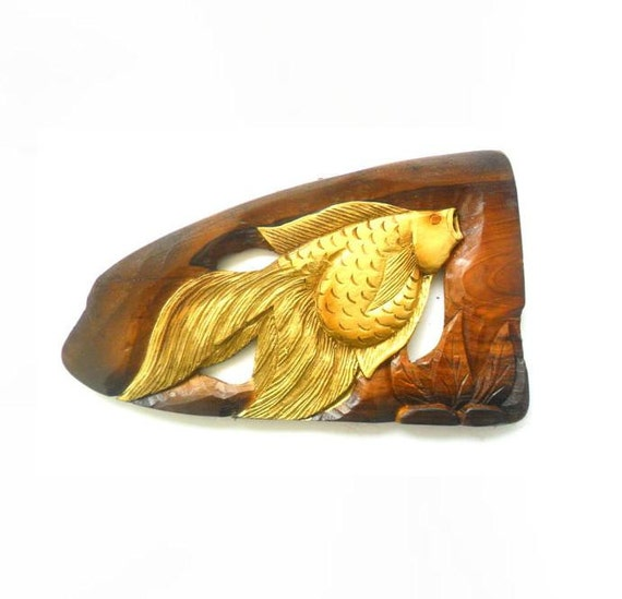 Natural Teak Wood Carving Gold Fish Wall Hanging Art Home