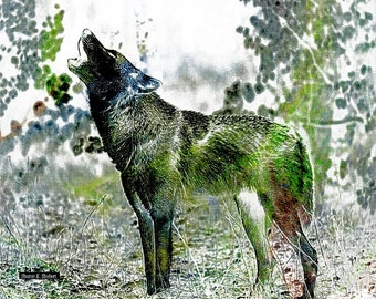Southwestern Howling Wolf Art, Fauvism Green Blue, Native American Totem Animal, Wolves Home Decor,Wildlife Wall Hanging,Giclee Print,8 x 10