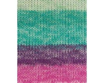 Sockyarn 6ply superwash all beautiful shades of emerald turquoise lagoon water and berries purple pinks 75 % wool 150 g 375 meter shade 07