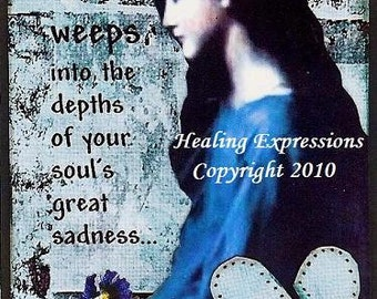 GOD WEEPS altered art collage child abuse grief faith trauma ptsd did therapy AcEO AtC PRiNT