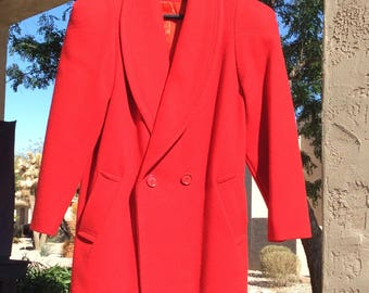 Vintage Red Coat, Carol Horn Wool Coat, 1980s Padded Shoulders Coat, Gift for her, 80s Red Coat, Retro Coat,excellent condition vintage coat