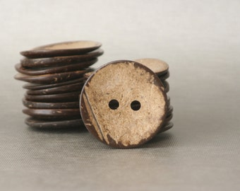 """3 Large 5cm Coconut Shell Buttons Natural 2"""" Coconut Buttons with Two Holes"""