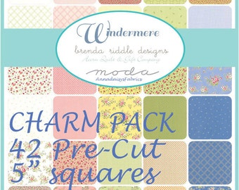 """Moda Windermere Charm Pack, Brenda Riddle, 42 Pre-Cut 5"""" Squares Fabric Bundle, English Countryside Floral & Geometrics, Cotton Quilt Fabric"""
