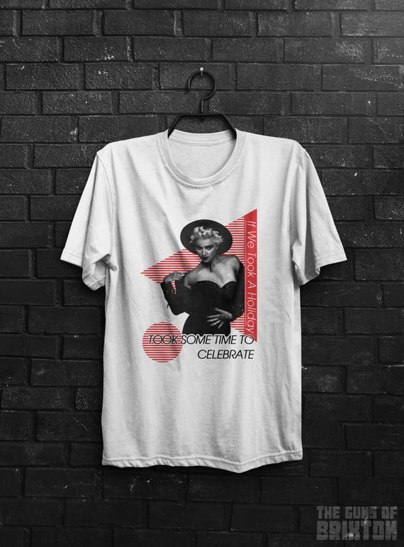 Madonna 80s Holiday T-shirt for Men or Women.