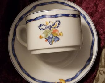 Marked Bernardaud Limoges France Borghese Pattern White Porcelain China Cup and  Saucer Fruit And Floral Swag