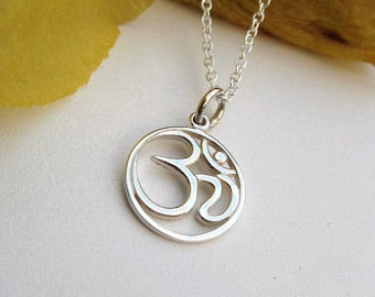 Om Sterling Silver Necklace - Om symbolizes the vibration of the universe