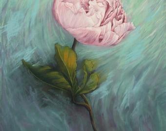Peinture au pastel sec, Pivoine, Grosse fleur rose, Tableau unique, Oeuvre d'art originale
