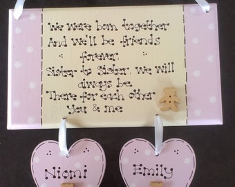 Personalised New Twins Baby Girls Sisters Gift Plaque, Christening Gift, New Babies, Keepsake Gift, Nursery Decor, Together, Custom Sign