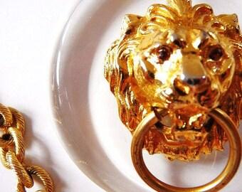 signed Art Lion door knocker necklace |  gold tone cast metal | clear lucite | signed vintage | ART MODE ModeArt | 1960s