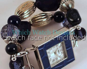 Dark Denim.. Dark Navy Blue and Silver Interchangeable Beaded Watch Band