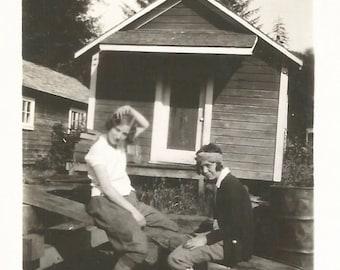 "Vintage Snapshot ""Roughing It"" Teenage Girls 1920's Flappers Rustic Cabin Found Vernacular Photo"