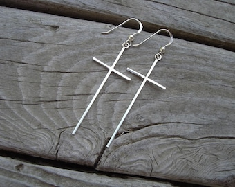 Cross earrings handmade in sterling silver 925