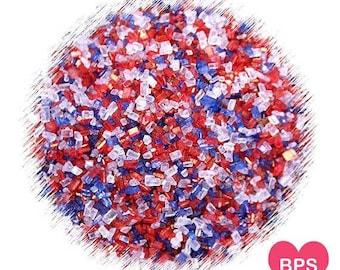 Patriotic Sparkling Sugar Sprinkles in Red, White & Blue, Forth of July Sprinkles, Coarse Sparkling Sugar, Cocktail Rim Sugar, USA Sprinkles