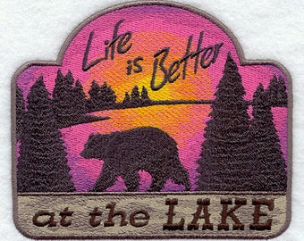 Life is Batter at the Lake Embroidered Flour Sack Hand/Dish Towel
