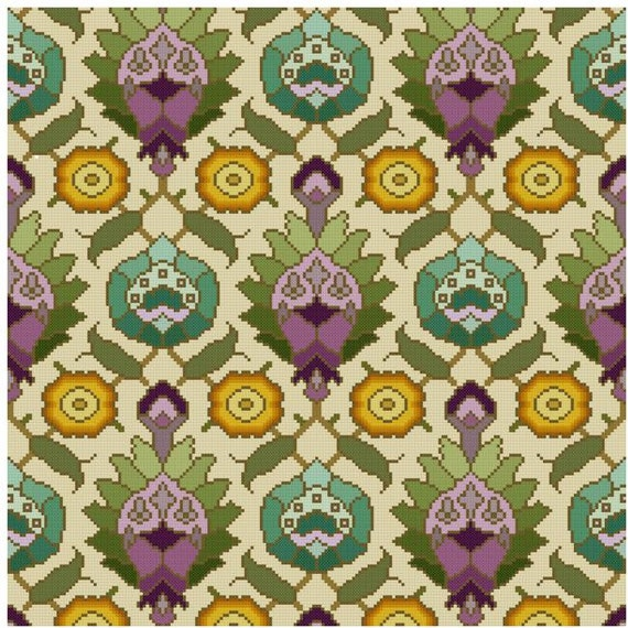 Persian Patterns: Antique Wallpaper Adaptation Persian Motifs Cross Stitch