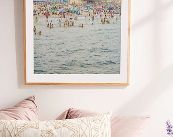 Beach Photography // Summer In the City // Crowded Beach at Coney Island Brooklyn // Large Scale Art Print // Large Living Room Art Print