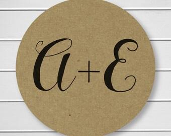 Initials Wedding Sticker, Rustic Kraft Personalized Wedding Invitation Sticker, Envelope Seals (#134-KR)