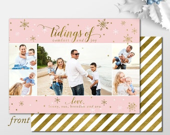 Blush and Gold Holiday Photo Cards, You choose printable or printed collage photo christmas cards - Tidings of Comfort and Joy