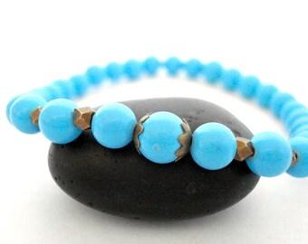 Sky Blue Yoga Bracelet, Handmade Beaded Bracelet For Yoga