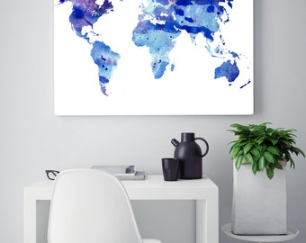 Travel wall art etsy watercolor world map gumiabroncs Image collections