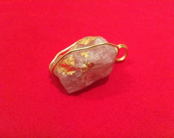 Rose Quartz raw Stone wrapped with Gold wire and Gold flakes