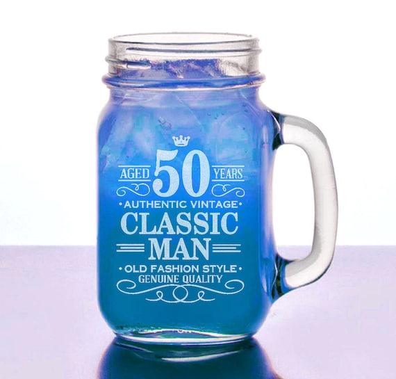 50th Birthday Gift Ideas For Men 50th Birthday Gifts For Him: 50th Birthday Gift For Him 16 Oz Mason Jar Happy Birthday