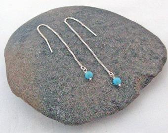 Turquoise Threader Earrings, 925 Sterling Silver, Long Chain Earrings, Dangle Stone Earrings, Modern Design, Delicate Turquoise Earrings
