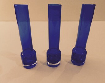 Vintage Cobalt Vases Set of 3