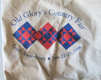 1996 Old Glory County Fair Tote Bag Canvas Shopping Market Vintage Advertising