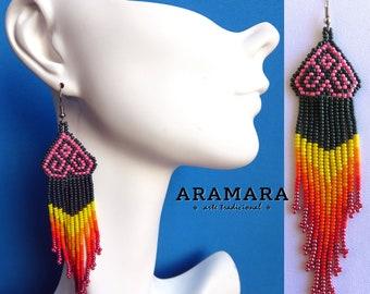 Boho earrings, Mexican folk art, Mexican earrings, Native american earrings, Mexican Jewelry, Huichol Earrings, Native Jewelry, AO-0131