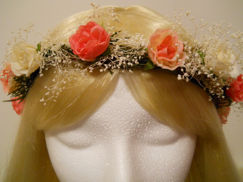 Flower Crown Head Wreath Coral Pink Ivory Rose Babies Breath