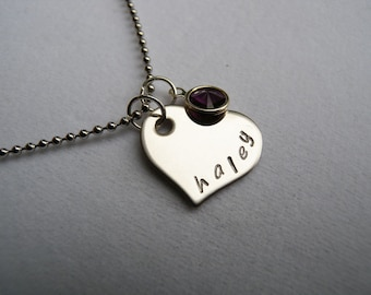 Hand Stamped Name Necklace, Heart Mommy or Grandma necklace, Personalized Necklace, Family Necklace, Birthstone and Initial Mother Necklace