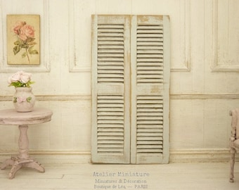 Doll House, Scale 1/12, Pair of Miniature Shutters, Wood Shutters, Very Light and Aged Gray White