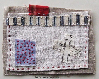 Home Sweet Home, Textile art, mini quilt, hand stitched