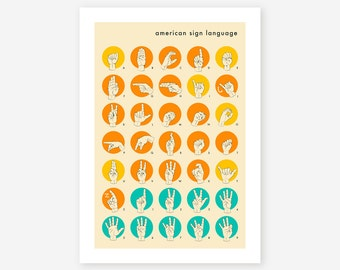 AMERICAN SIGN LANGUAGE Hand Alphabet (Giclée Fine Art Print/Photo Print/Poster Print)