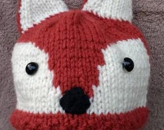 Woodland, Fox, Hand Knitted, Beanie, Toboggan, Hat