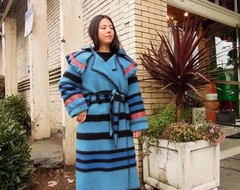 Beautiful Blue Black Belted Blanket Coat Northwest Long Duffle Coat ~ Hooded Overcoat ~ 70's ~ size Medium Large Made in England