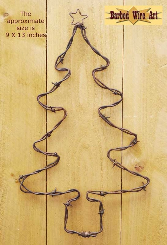 Christmas Tree Handmade metal decor barbed wire art country