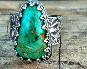 Adjustable Turquoise Ring, Royston Turquoise and Silver handmade, fits multiple sizes, Green Ring, Modern Southwestern