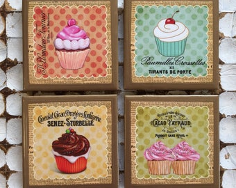 COASTERS!! cupcake coasters with gold trim
