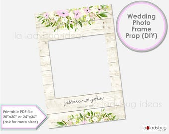 Wedding photo frame prop. Wedding photo prop. DIY PDF Printable file. Custom Floral rustic wedding prop, blush and ivory. for selfie station