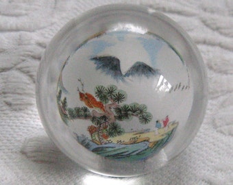 reversed paperweight . chinese paperweight . walking stick top . Chinese Reversed Paperweight