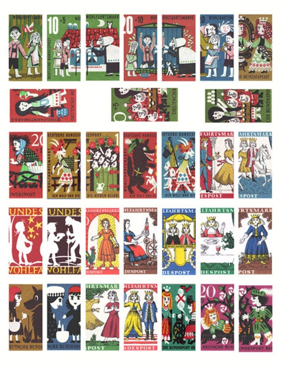 "domino collage sheet 1"" x 2"" inch images digital download graphics vintage grimms fairytale art clipart pendant printables"