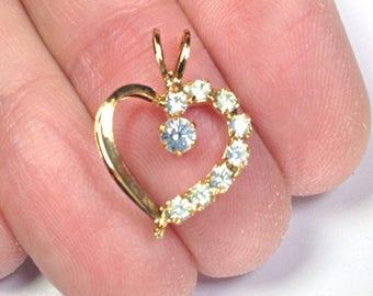 Gold Rhinestone heart pendant, heart pendant, gold heart charm, clear rhinestone heart pendant, open heart pendant