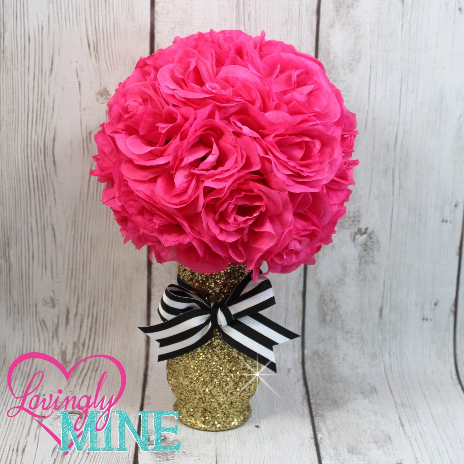 Centerpiece glitter gold glass vase hot pink faux silk rose zoom reviewsmspy