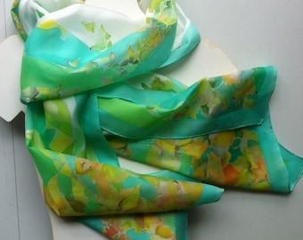 Green silk scarf - woman silk scarf - hand painted silk scarf - handpainted luxury silk shawl - bright green silk scarf motives